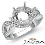 1ct Diamond Antique Engagement Ring Round Semi Mount Bypass Halo Pave Setting