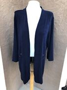 New 109 Soldout Chicos Travelers Empress Blue Grommet Detail Jacket 3 Xl 16 Nwt
