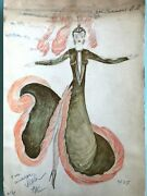 Russian Ussr Circus/theatre/ballet Costume Watercolor Sketch Painting 80and039s 132