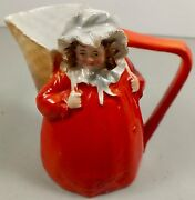 Royal Bayreuth Girl With Basket In Red Dress Figural Creamer Marked Deponiert