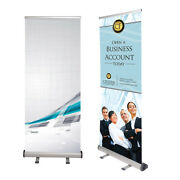 Aluminum Banner Stand, Retractable, Up To 90 High, Reusable, With Carrying Case