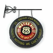 Historic Route 66 Retro Double Sided Light Up Hanging Tire Indoor Outdoor Bar