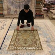 Yilong 3and039x5and039 Antique Hand Made Home Carpet Green Hand Knotted Silk Area Rug 388m