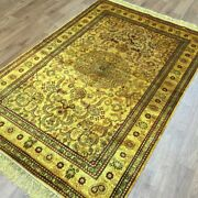 Yilong 4'x6' Gold Classic Ancient Silk Handmade Area Rugs Antique Carpets G30ab