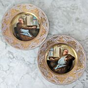 Pair Of Antique Meissen Dresden Style Smoking Man Gold Print Charger Plates