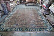 Antique Hand Knotted Wool Turkestan Rug 11and0399 X 14and0398 Distressed Shabby Chic Birds