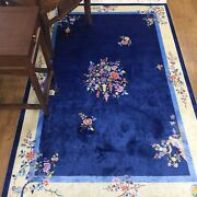 Yilong 4and039x6and039 Blue Handmade Silk Area Rug Chinese Art Deco Silk Carpet Online