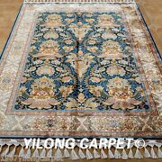 Yilong 4.3and039x6.6and039 Handmade Silk Rugs Classic Floral Art Hand Knotted Carpets 1794
