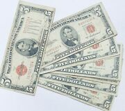 15 Pcs = 75 Face Value 1928-1963 5 Legal Tender Red Seal