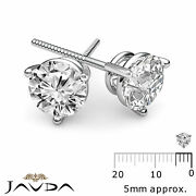 Natural Round Diamond 3 Prong Double Wire Screwback 1pair Stud Earrings 0.48ctw
