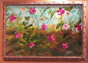 Abstract Oil On Canvas 28 X 40 Framed Garden Greens Blues Reds Yellow