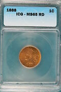 1888 Icg Ms65 Red Indian Head Cent B3322