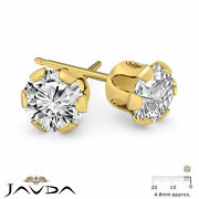 Round Diamond 6 Prong Snap Friction 1 Pair Stud Earring 14k Yellow Gold 0.48ctw.