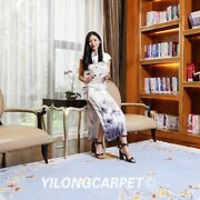 Yilong 6and039x9and039 Blue Flowers Hand Knotted Chinese Art Deco Woollen Rug Area Carpet