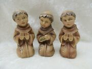 Vintage Trio Of Celluloid Friar Monk Boy Figures - Praying/playing Squeeze Box