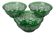Rare Stevens And Williams Intaglio Glass Green Cut To Clear Three Finger Bowls