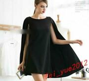 Womenand039s Europe Elegant Mid Long Shawl Cloak Dress Solide Pull On Cape Plus Us