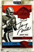 2018 Honors Jerry Rice Canton Calligraphy On Card Auto 1/1 Nice