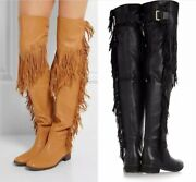 Women's Vintage Tassel Fringe Layer Boots Flat Knee High Tall Boots Size 34-45