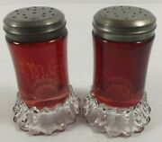Eapg Antique Us Glass Nevada Ruby Stain Salt And Pepper Shakers W/ Crystal Bases