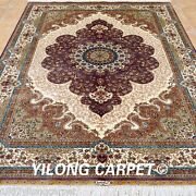 Yilong 5and039x7.5and039 Medallion Silk Area Rugs Hand Knotted Great Carpets Handmade 0190