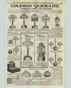 1922 Paper Ad Coleman Quick Lite Lanterns Lamps Wall Ceiling Air-o-lite Arc Lamp