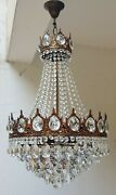 Antique Vintage Brass And Crystals French Large Chandelier Lighting Ceiling Lamp