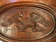 Antique Hand Carved Wood Eagle Coffee Table W/removable Glass Top, Beautiful