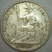 1928 A French Indo China 20 Cent .835 Silver Coin Km 17.1 Xf Extra Fine K204