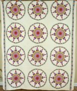 Museum Quality Vintage 30and039s 9-pointed Star Wheel Antique Quilt Sawtooth Borders
