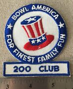 Vintage 1960s Bowl America Finest Family Fun 200 Club Patch Embroidered Nos