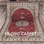 Yilong 6and039x9and039 Hand-knotted Area Rug Parlor Medallion Handmade Silk Carpets W305c