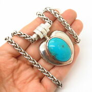925 Sterling Vintage J. Esposito Turquoise Heart Snap On Pendant Necklace 16