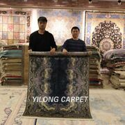 Yilong 4and039x6and039 Floral Silk Area Rug Handmade Carpets Home Decor Hand Knotted 0643