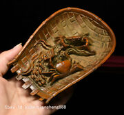 China Folk Boxwood Wood Carved Farm Tools Dustpan Crab Lucky Wealth Statue Model
