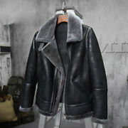 Menand039s Winter Warm Sheepskin Leather Motorcycle Jackets Cashmere Fur Outwear New