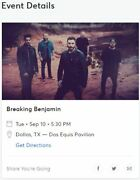 Breaking Benjamin Chevelle And 3 Days Grace Vip Tickets Sept 10th Dallas Tx