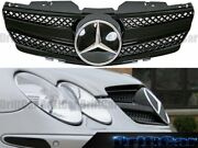 Shiny Black Front Fence Grille 1f-d Cover Fit With 03-06 R230 Sl Convertible Use