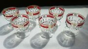Small Clear Glass Drinking Liquor Glasses Red And Gold Rim. Set Of 6