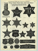 1908 Paper Ad Chicago Police Badge Star City Marshall Deputy Sheriff Cook County