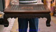 26 Old Chinese Huanghuali Wood Carved Wealth Fu Statue Tea Coffee Table Desk