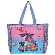 Laurel Burch Dog Papillon Puppy Oversized Tote Travel Beach Sport Bag Lastone