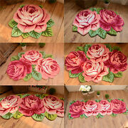 Vintage Roses Floral Hand Embroidery Non-skid Porch Door Rug Floor Mat Runner