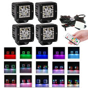 4x 3 Inch 24w Led Work Light Bar Spot Beam With Rgb Halo Ring Chasing And Harness