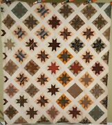 Outstanding Vintage 1870and039s Stars Antique Quilt Very Early Fabrics