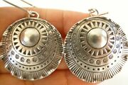 Round Thai Hill Tribe Circle Tribal Motif Sterling Silver Dangle Earrings