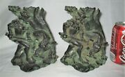 Antique Germany Black Forest Bronze Wild Boar And Man Hunting Sculpture Bookends