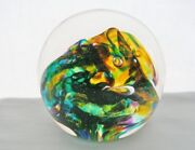 Unbelievably Plush Colors Robert Held Glass Paperweight Signed Label Artist Card