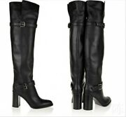 British Womens Leather Block Heels Over The Knee Thigh Riding Boots Buckle Shoes