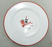 White With Red Trim Enamelware Plate Made In Sweden